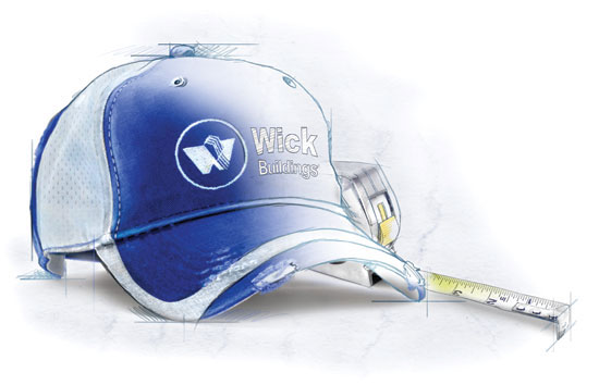 Illustration of a Wick baseball cap and tape measure