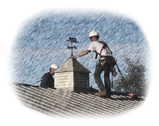 Illustration of two Wick builders working on a roof in the rain