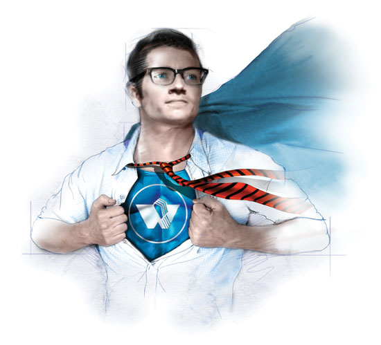 Illustration of a Superman-like character pulling open a dress shirt to reveal a Wick T-shirt underneath